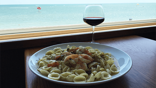 Shrimp with Zucchini and Artichoke Hearts with wine-island-view-restaurant